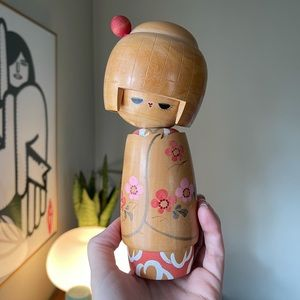 "Cute Girl Wooden Japanese Kokeshi Doll 8"""